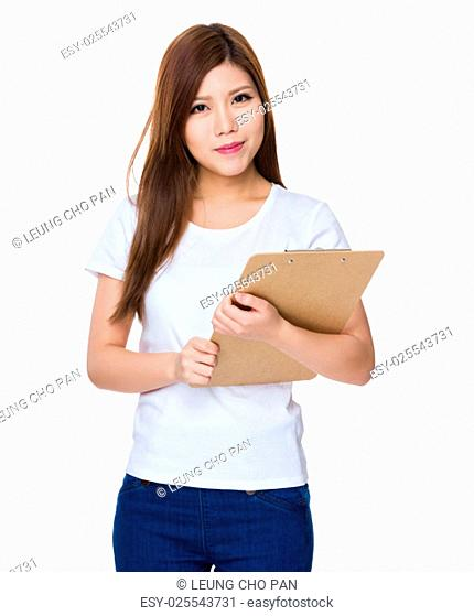 Woman holding with clipboard