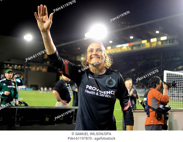 Portland Thorns goalkeeper Nadine Angerer waves at fans during her last home match of the season of the Portland Thorns against the Washington Spirit of the...