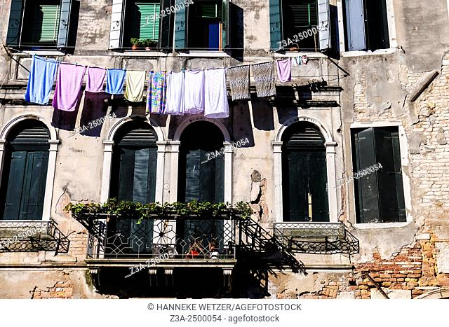 Laundry hanging in Venice, Italy, Europe