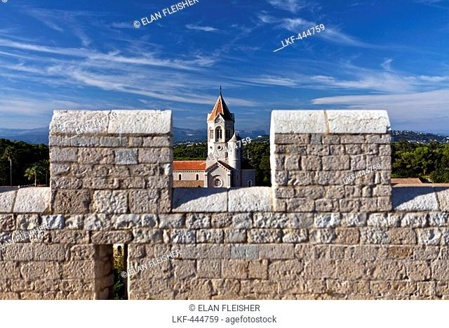 View of the Abbaye de Lerins from the fortified monastery on Ile Saint-Honorat, Cannes, France