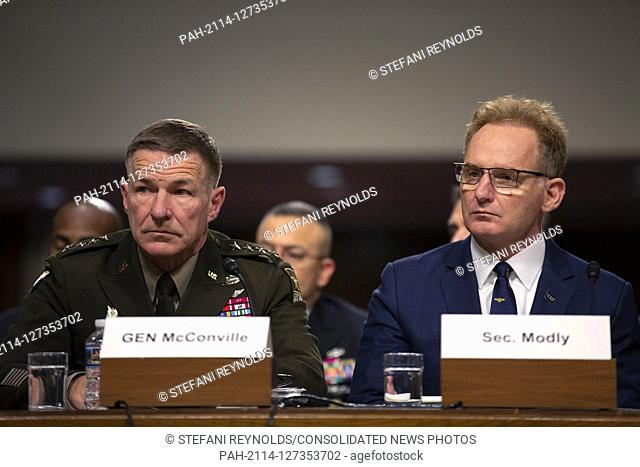 Chief of Staff of the U.S. Army General James McConville and Acting Secretary of the Navy Thomas Modly, on a panel with Director of Defense Capabilities and...