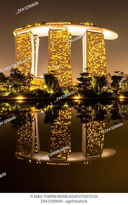 Marina Bay Sands Hotel reflecting in the water, Singapore, Asia