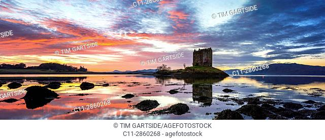 Castle Stalker,Scottish Castle, Loch Laich, Loch Linnhe, Argyll and Bute, Scotland, uk