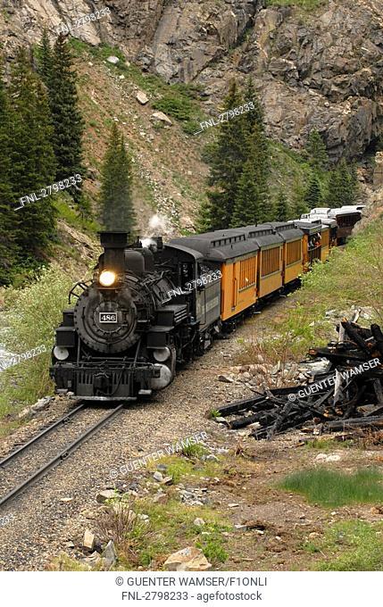 Train moving on track passing through landscape, Silverton, Durango, La Plata County, Colorado, USA