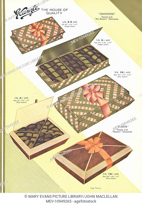 Page from a catalogue, Kunzle Chocolate List, showing the Oakwood and Ruskin style of luxury presentation boxes in different sizes
