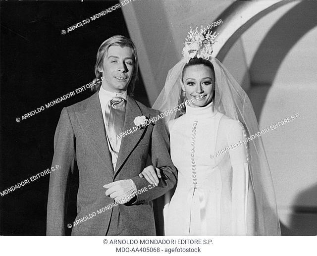 Raffaella Carrà and Enzo Paolo Turchi getting married in Canzonissima. Italian TV host, actress, singer and showgirl Raffaella Carrà (Raffaella Maria Roberta...