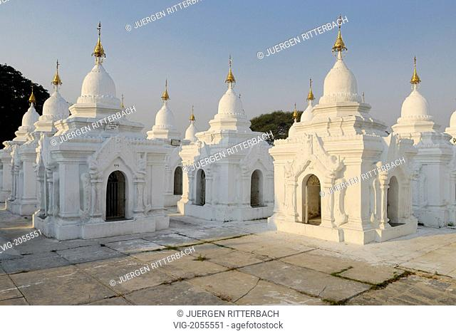 ASIA, MYANMAR, BURMA, BIRMA, MANDALAY, AMARAPURA, Kuthodaw PAGODA with 729 small white stupas, inscribed are carved in marble blocks inside