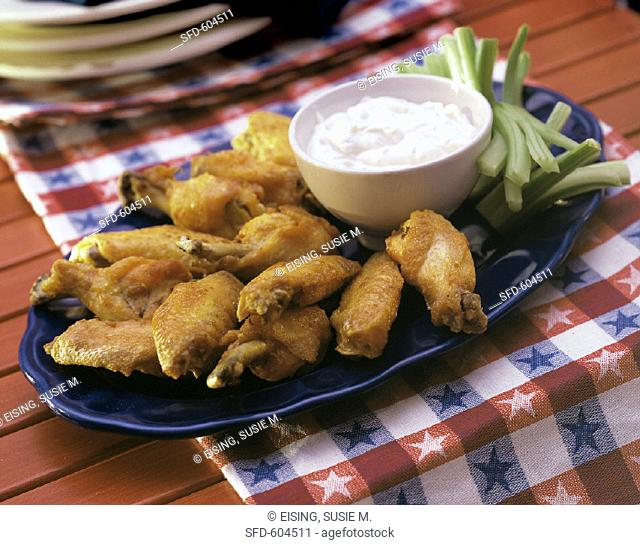 Spicy Buffalo Wings with Celery, Dip