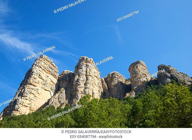 Rock wall, named as Masmut Rocks, in Penarroya de Tastavins, Teruel, Aragon, Spain