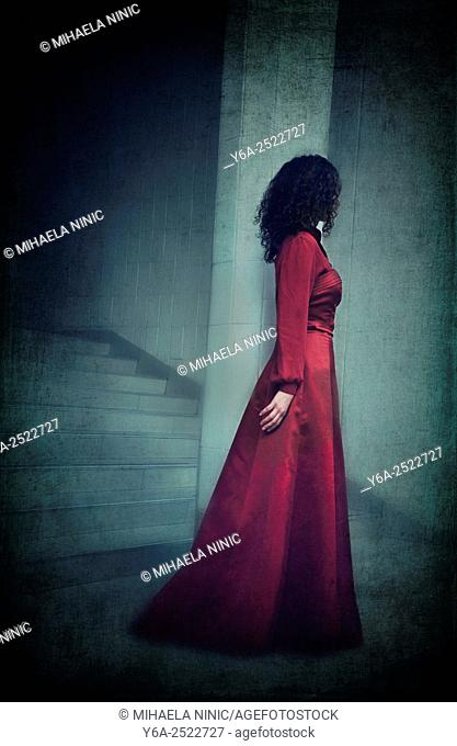 Mysterious woman in red dress