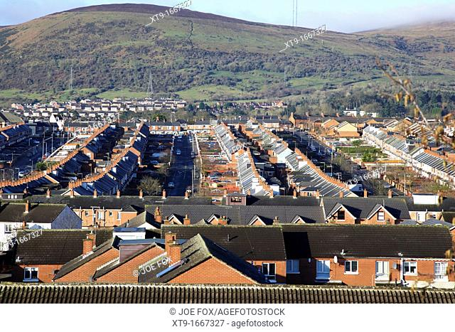 View over the Catholic enclave Ardoyne area of North Belfast Belfast Northern Ireland UK