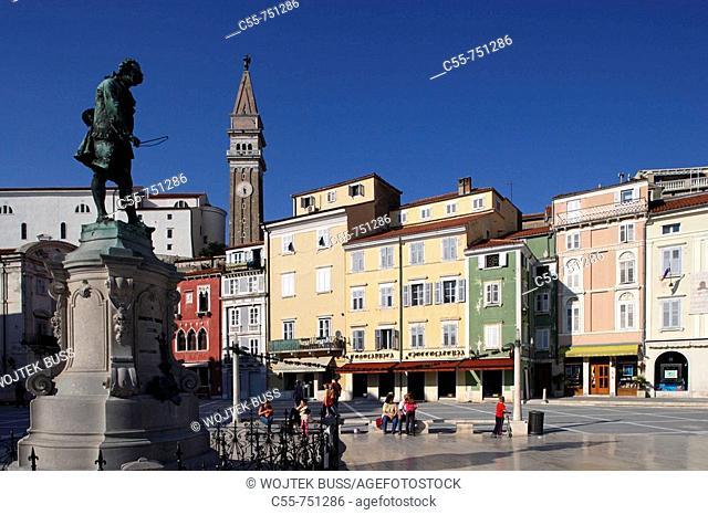 Piran, Tartini Square, italian style, typical houses, St George's Church, Belfry, Tartini's statue, Venetian House, Slovenia
