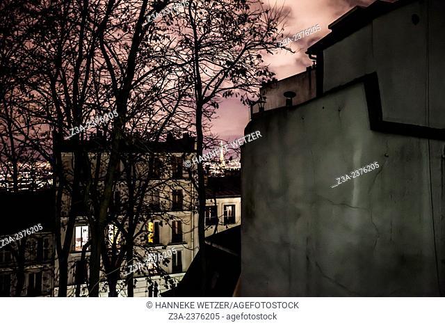 Monmartre neighborhood by night, Paris, France