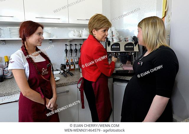 Scotland's First Minister joins SNP's candidate for East Lothian George Kerevan on campaign trail in Musselburgh Featuring: Nicola Sturgeon Where: Musselburgh
