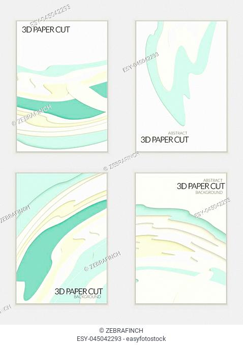 Abstract banner template with 3D paper cut art. Vector paper cut layers create topography map concept or smooth origami paper carving craft