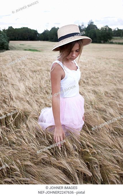 Girl on rye field