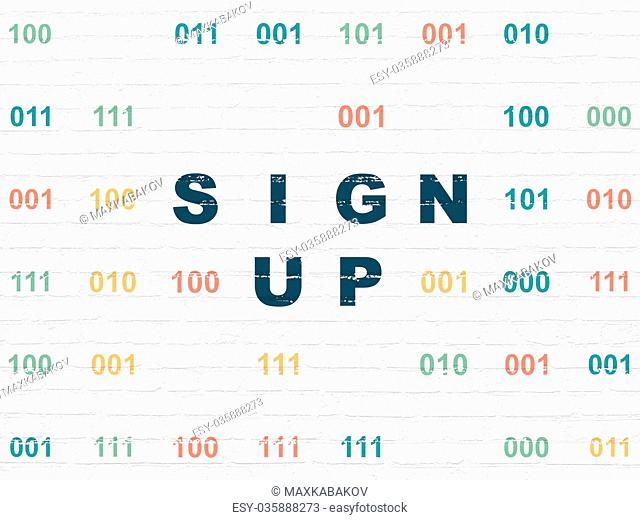 Web design concept: Sign Up on wall background
