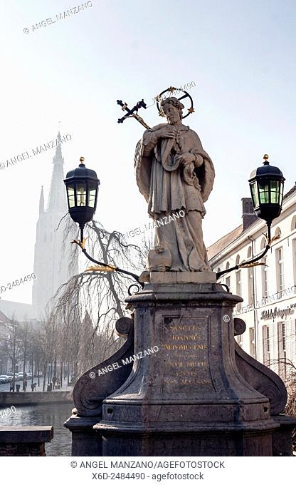 Johannes van Nepomuk (Sanctus Joannes Nepomucenus) sculpture, Bruges, Belgium