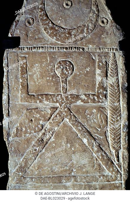 Votive stele with reliefs containing elements of Berber, Punic (Tanit) and Greek-Roman culture (Dionysus, Aphrodite, Zeus and Hermes)