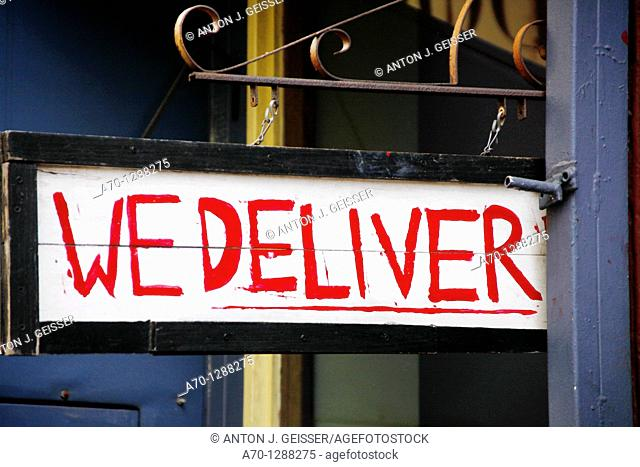 New York City, we deliver sign , manhattan