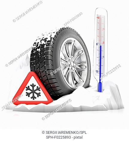 Winter tyre, illustration