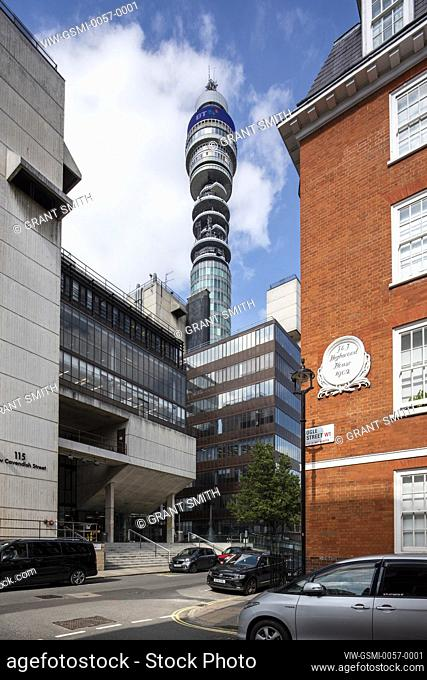 View from Ogle Street, with University of Westminster in foreground. BT Tower, London, United Kingdom. Architect: Bedford & Yates, 1965
