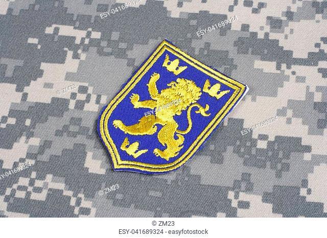 KIEV, UKRAINE - July, 16, 2015. Ukraine Army uniform badge - coat of arms