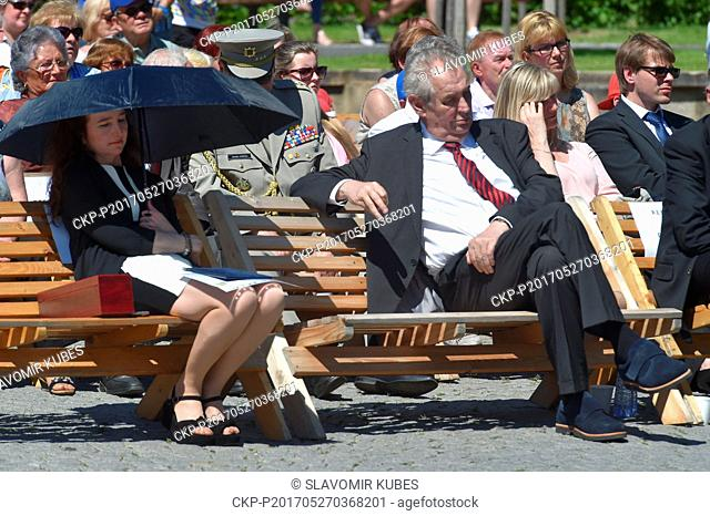 British Ambassador Jan Thompson, left, and Czech President Milos Zeman pictured during the 70th anniversary of renewal a Czech village Lidice