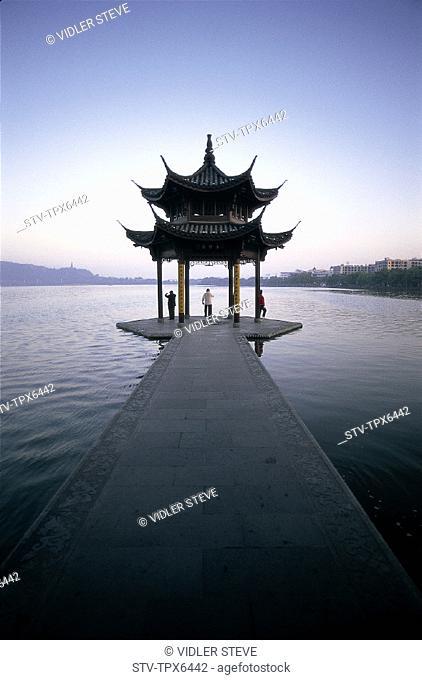 Architecture, Asia, China, Chinese, Exercising, Hangzhou, Holiday, Lake, Landmark, Moody, Pagoda, People, Province, Temple, Tour