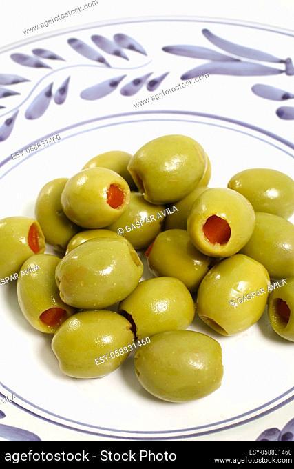 Closeup of stuffed green olives