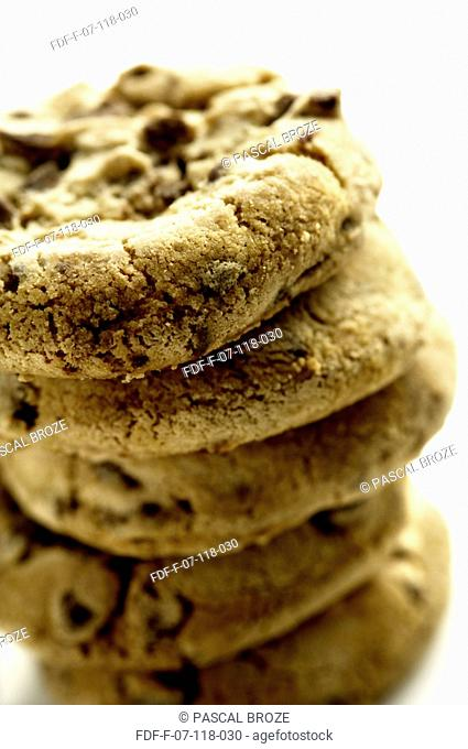 Close-up of a stack of chocolate chip cookies