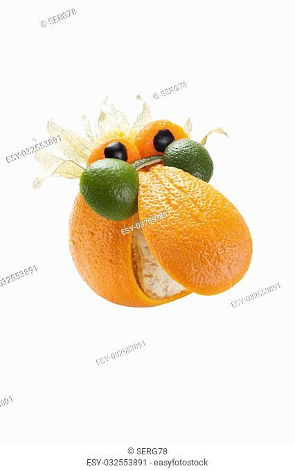 Funny man in glasses made of orange