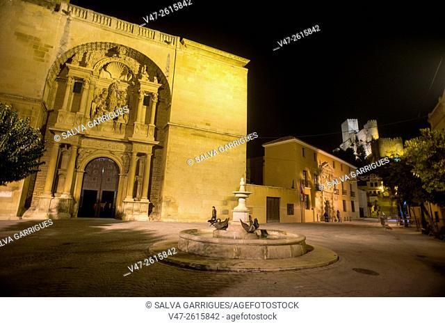 Night shot of the facade of the Church of the Assumption, the old town of Almansa, Plaza de Santa Maria, Almansa, Albacete, Castilla La Mancha, Spain, Europe