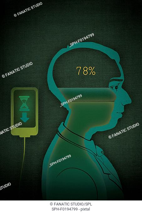 Data being uploaded to brain, illustration