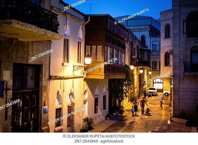 Pedestrian street at the Old City of Baku, Azerbaijan