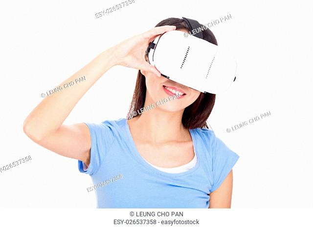 Young Woman use of virtual reality device