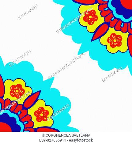 Vector round colorful flower vintage set, circle background, lacy arabesque designs. Orient traditional ornament. Oriental motif