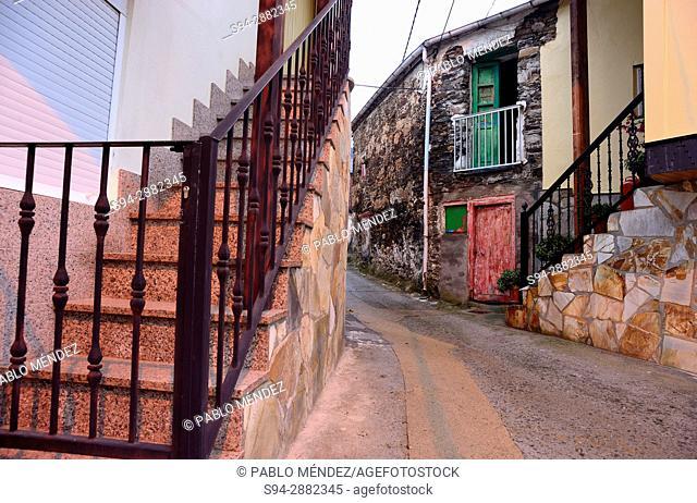 Coloured alley in A Rua, Orense, Spain