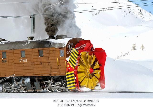 Snow blower train at Bernina Pass, Switzerland