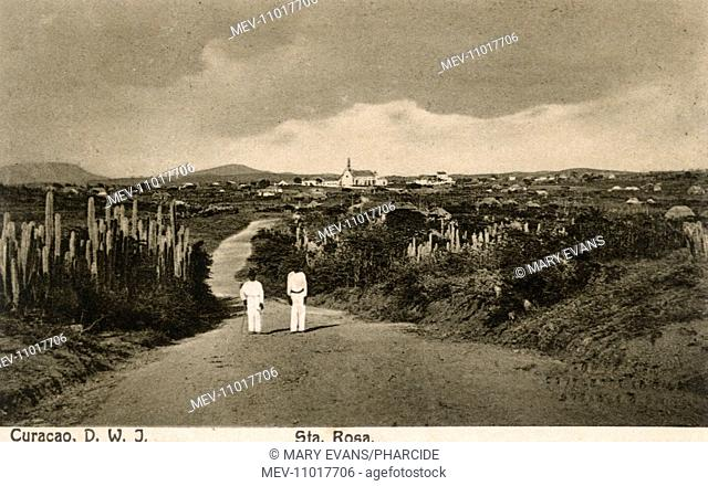 General view of Santa Rosa with church, Curacao, West Indies