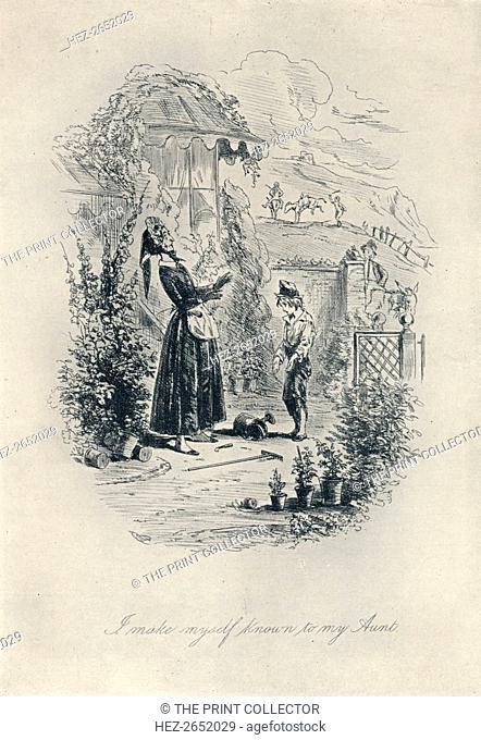 'I Make Myself Known to My Aunt. Etching from 'David Copperfield', 1840-1880, (1923). David Copperfield is the eighth novel by Charles Dickens