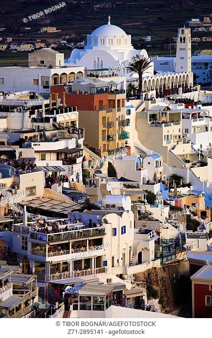 Greece, Cyclades, Santorini, Fira, skyline, general view,