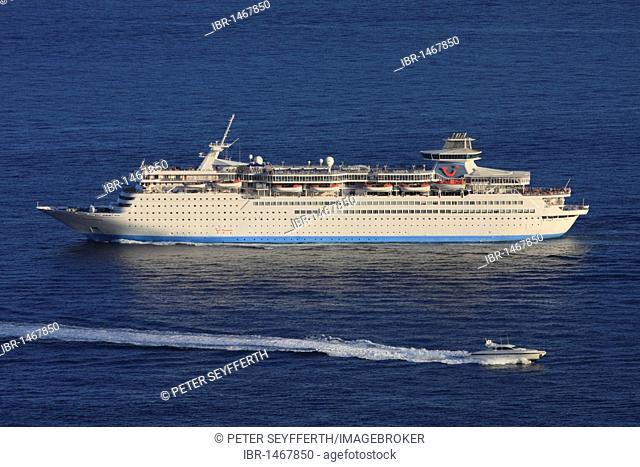 Thomson Destiny cruise ship on its way to Monaco, Cote d'Azur, France, Europe