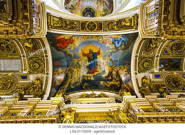 """Interior Walls and Ceiling, St Isaac's Cathedral church St saint Petersburg, Russian Sankt Peterburg, formerly (1914â. """"24) Petrograd and (1924â"""