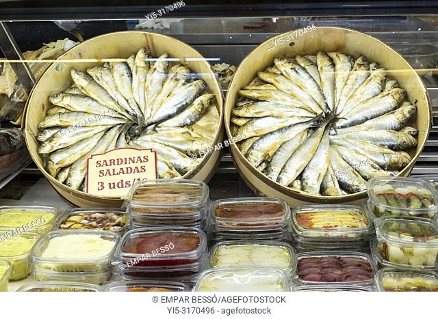 Salted sardines for sale in market. Valencia, Spain