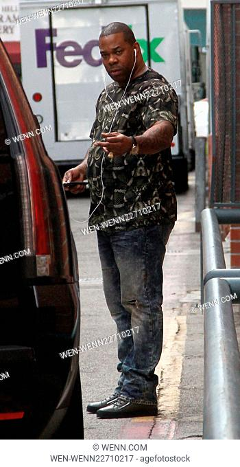 Busta Rhymes leaves an office in Beverly Hills giving a hand gesture Featuring: Busta Rhymes Where: Los Angeles, California
