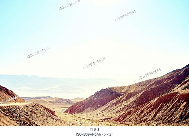 Road, mountains and valley, Death Valley, California, USA