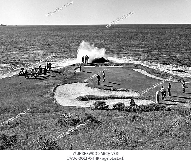 Pebble Beach, California: c. 1950.The seventh hole at Pebble Beach Golf Course