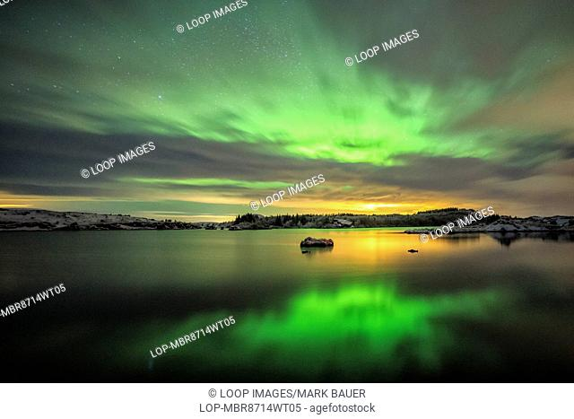 Aurora Borealis over Lake Myvatn in Northern Iceland