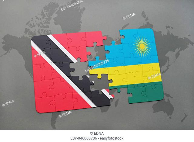 puzzle with the national flag of trinidad and tobago and rwanda on a world map background. 3D illustration